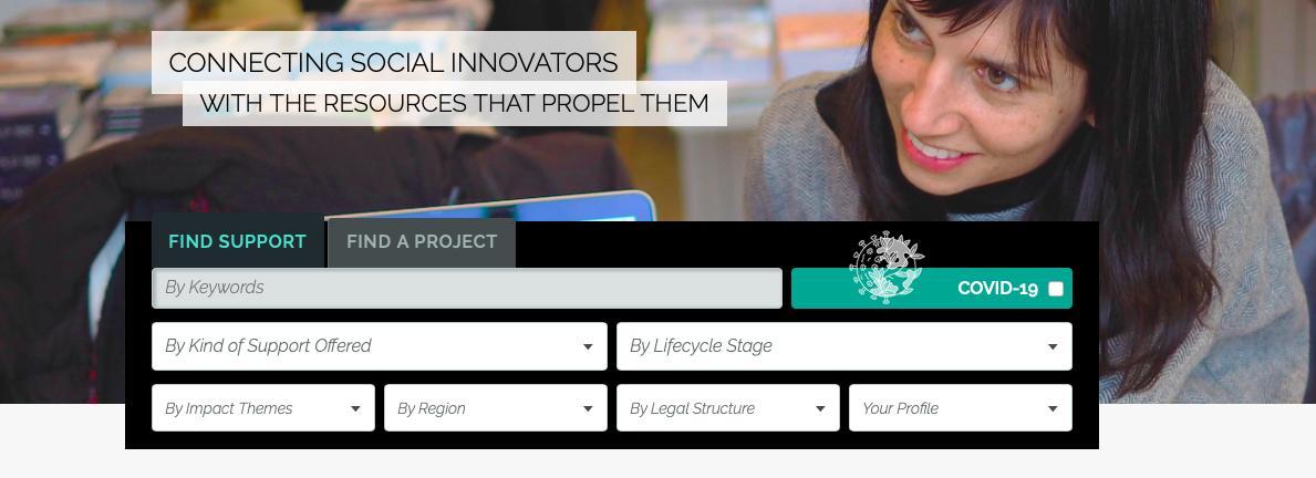 Une plateforme numérique accessible gratuitement aux innovateurs sociaux, aux acteurs de changement et aux aspirants entrepreneurs sociaux / A free digital platform for social innovators